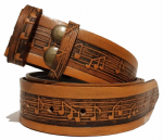 "Musical Notes on Stave Embossed Full Grain Leather Belt -  1½"" (38mm) Wide. Code EM022"